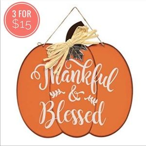 Thankful & Blessed Pumpkin Autumn Wall Hanging Thanksgiving Fall Home decor